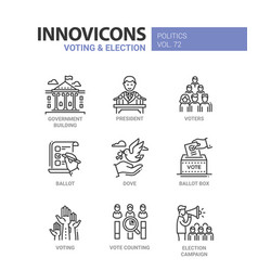 voting and election - set of modern thin line vector image vector image