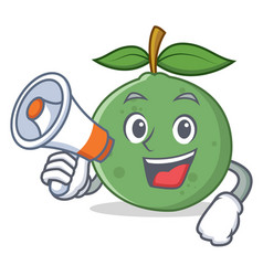 With megaphone guava character cartoon style vector