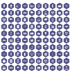 100 solar energy icons hexagon purple vector