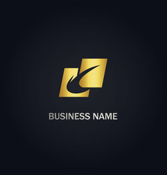 Abstract square curve gold logo vector