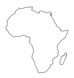 africa map from black contour curves lines on vector image