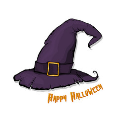 an of a cartoon halloween witch hat happy vector image