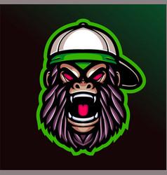Angry hip hop gorilla head mascot logo vector
