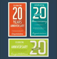 Anniversasry retro background 20 years vector
