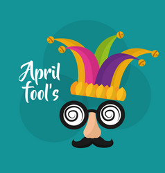 April fools mask mustache silly glasses and hat vector