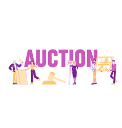 Auction concept people buying assets male female vector