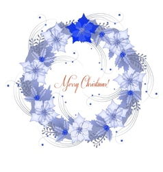 Background with Christmas wreath and poinsettia vector