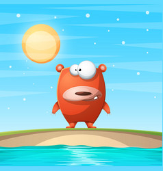 bear on the beach cartoon vector image