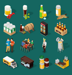 Beer isometric icons set vector