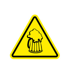 Beer warning sign yellow alcohol hazard attention vector
