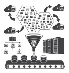 big data icons set cloud computing concept vector image