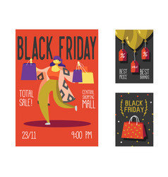 black friday sale poster flyer placard shopping vector image