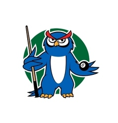 Blue owl with pool cue and ball vector