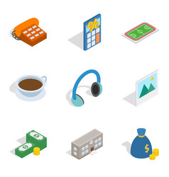 Business intervention icons set isometric style vector