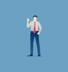 Businessman stands and shows ok gesture vector