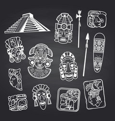 cartoon aztec and maya mask elements set on vector image