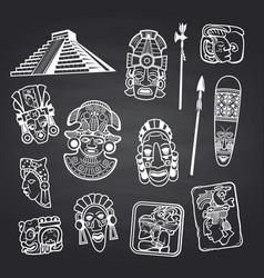 Cartoon aztec and maya mask elements set vector