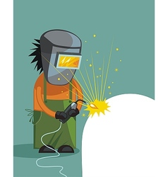 Cartoon of a welder vector