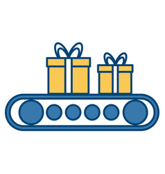 Cartoon of gift boxes on conveyor belts vector