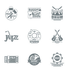 Chime logo set simple style vector