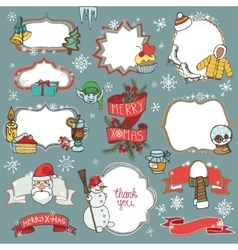 Christmas season doodle symbolsbadges vector