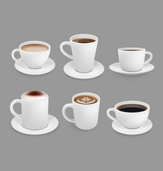 coffee cup collection hot drinks with foam and vector image