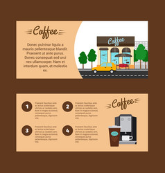 coffee horizontal flyers with shop building vector image