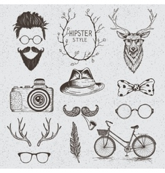 Collection monochrome objects vector