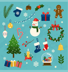 collection of christmas items elements and vector image
