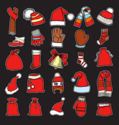collection of red caps vector image