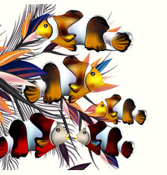 colorful fishes and palm leafs for design vector image