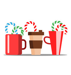 cup of hot coffee with christmas candy sticking vector image