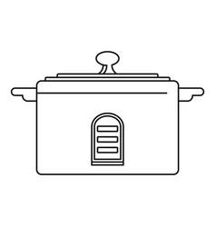 Digital saucepan icon outline style vector