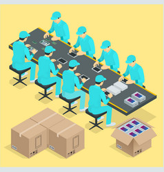 Factory manual assembly line with works vector