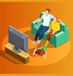 Family watching tv home isometric image vector