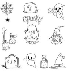 Flat doodle halloween vector