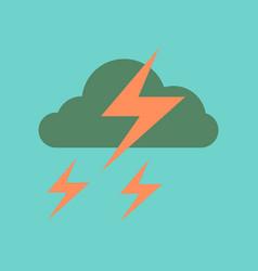 Flat icon on stylish background lightning cloud vector