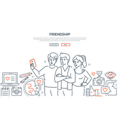 friendship - line design style web banner vector image