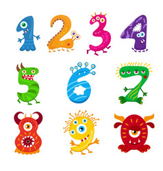Funny cartoon numbers monster set collection vector
