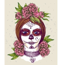 girl with day dead make up vector image