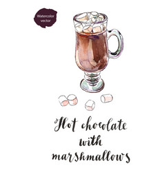 glass of hot chocolate with marshmallows vector image