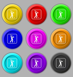 Golf icon sign symbol on nine round colourful vector