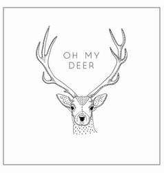 hand drawn deer head logo vector image