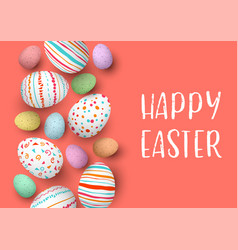 happy easter eggs in a row with text colorful vector image