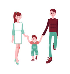 happy family walking in flat vector image