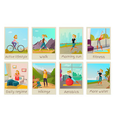 Healthy lifestyle cards set vector