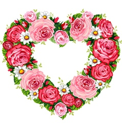 heart roses frame vector image vector image