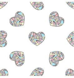 Hearts seamless pattern hand drawn vector