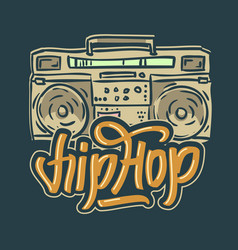 Hip hop design with a hand drawn boombox ghetto vector