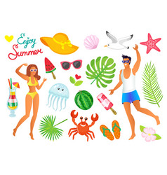 hot summer symbols man and woman in swimwear vector image